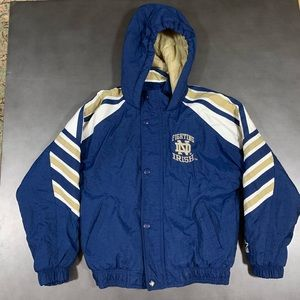 VTG Starter Notre Dame Zip Up Hooded Jacket Boys M